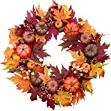 The Wreath Depot Woodbury Pumpkin Harvest Silk Fall Front Door Wreath, 22 Inches