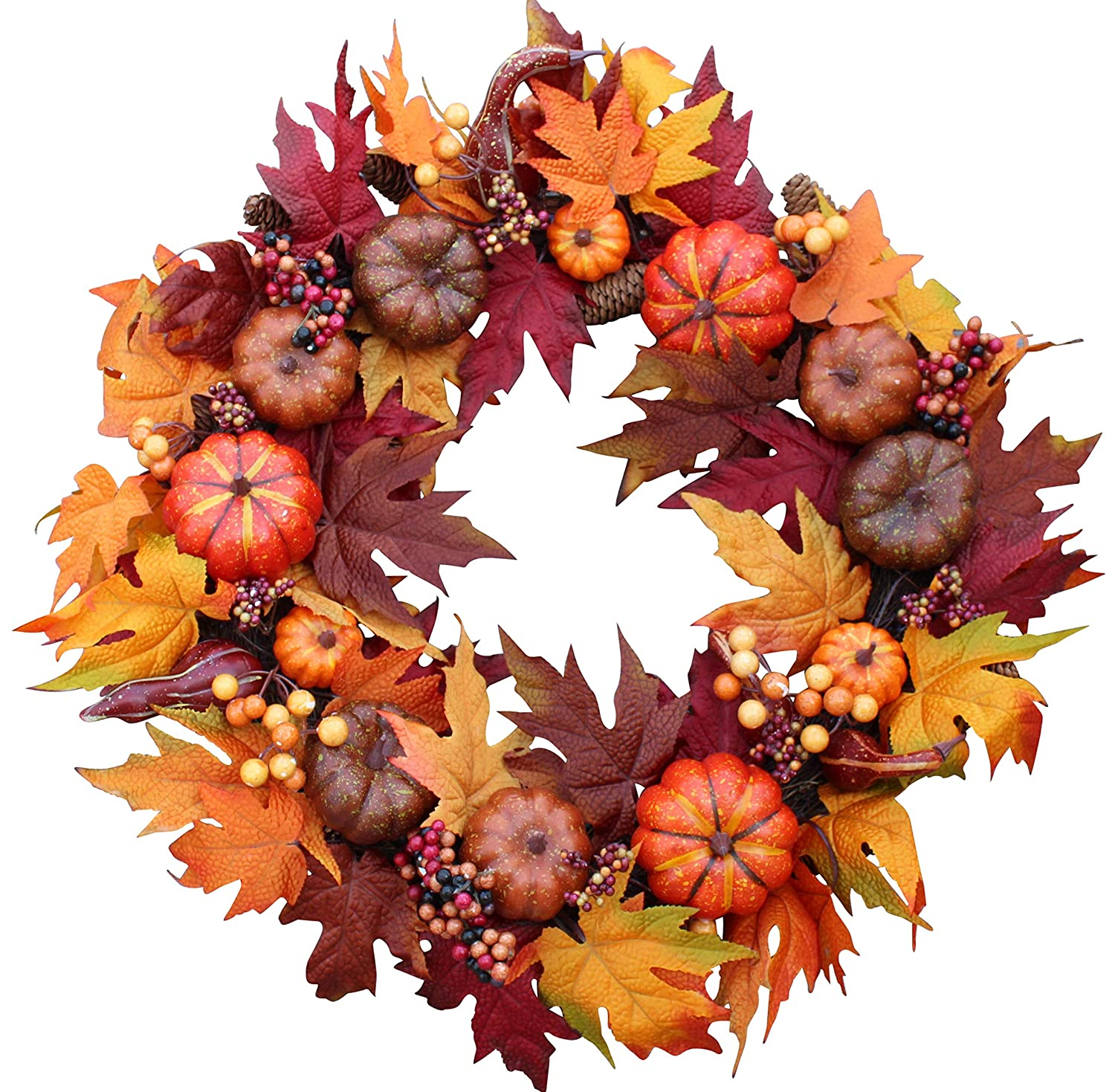 Woodbury Pumpkin Harvest Silk Fall Front Door Wreath 22 Inches - Brightens Front Door Decor with Rich Fall Colors, Approved for Covered Outdoor Use, with Beautiful White Gift Box The Wreath Depot