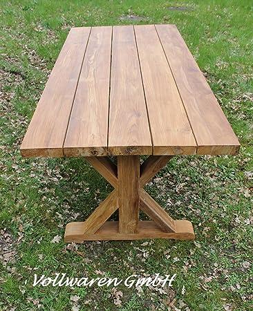 Teak Gartentisch Emyl 220x100 Teakholz Antik Massiv Tisch Tafel