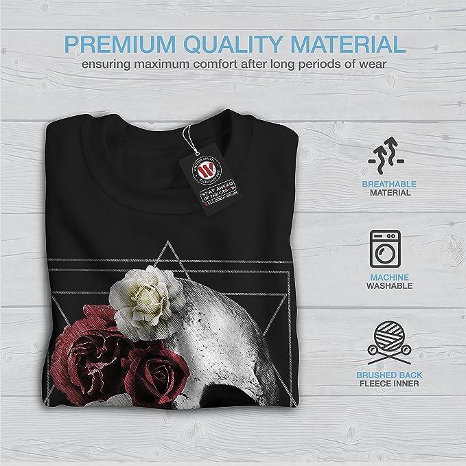 Wellcoda Crâne Fleur Rose Pour Homme Sweat-shirt Angel Head Casual Pullover Pull