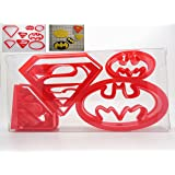 Goggly Lot de 4 emporte-pièces en forme de logo de Superman/Batman coffret inclus