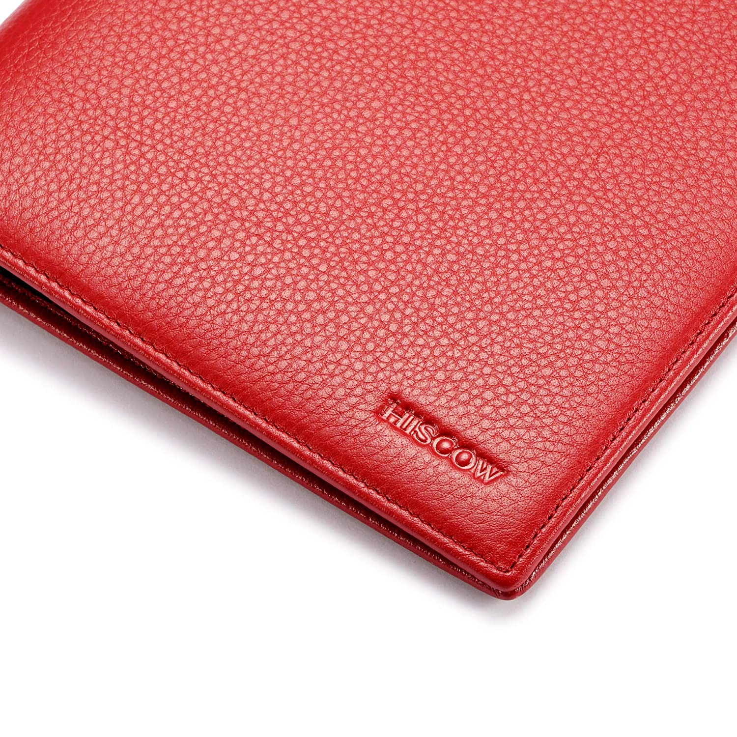 Italian Calfskin HISCOW Classy Leather Junior Padfolio with Pen Loop Pebbled Red