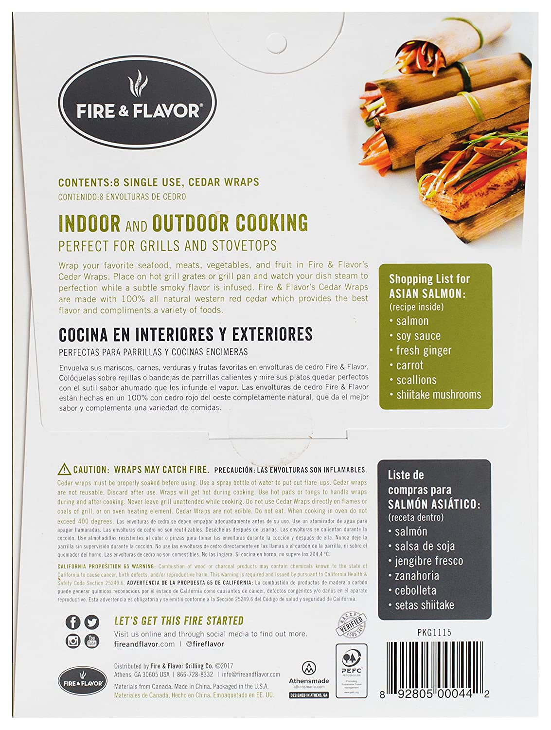 Fire & Flavor Fire & Flavor 6 x 7.25 Inch Western Red Cedar Wraps (8 Papers), 2-Ounce Packages (Pack of 6): Amazon.com: Grocery & Gourmet Food