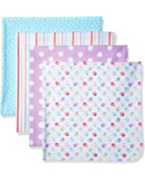 Gerber Baby Girls' 4 Pack Flannel Receiving Blanket