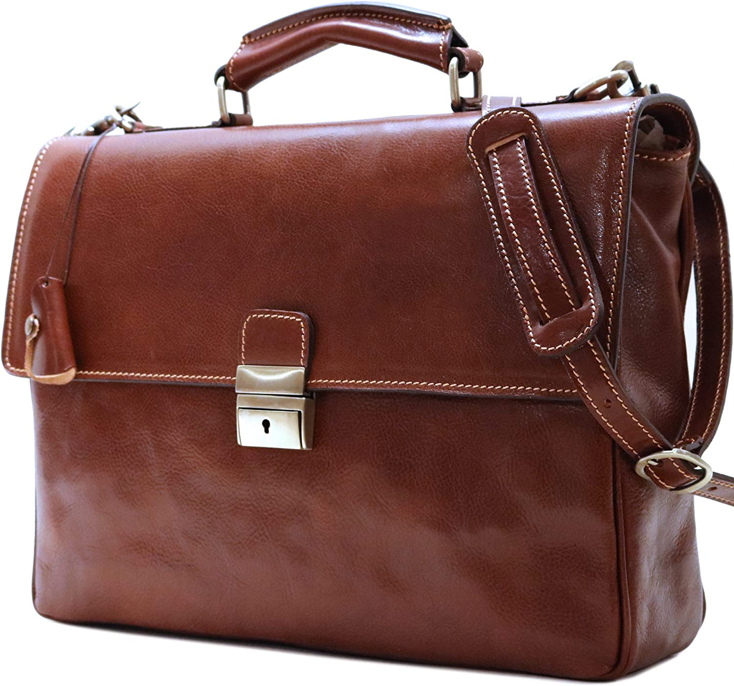 Cenzo Leather Briefcase Messenger Bag in Vecchio Brown