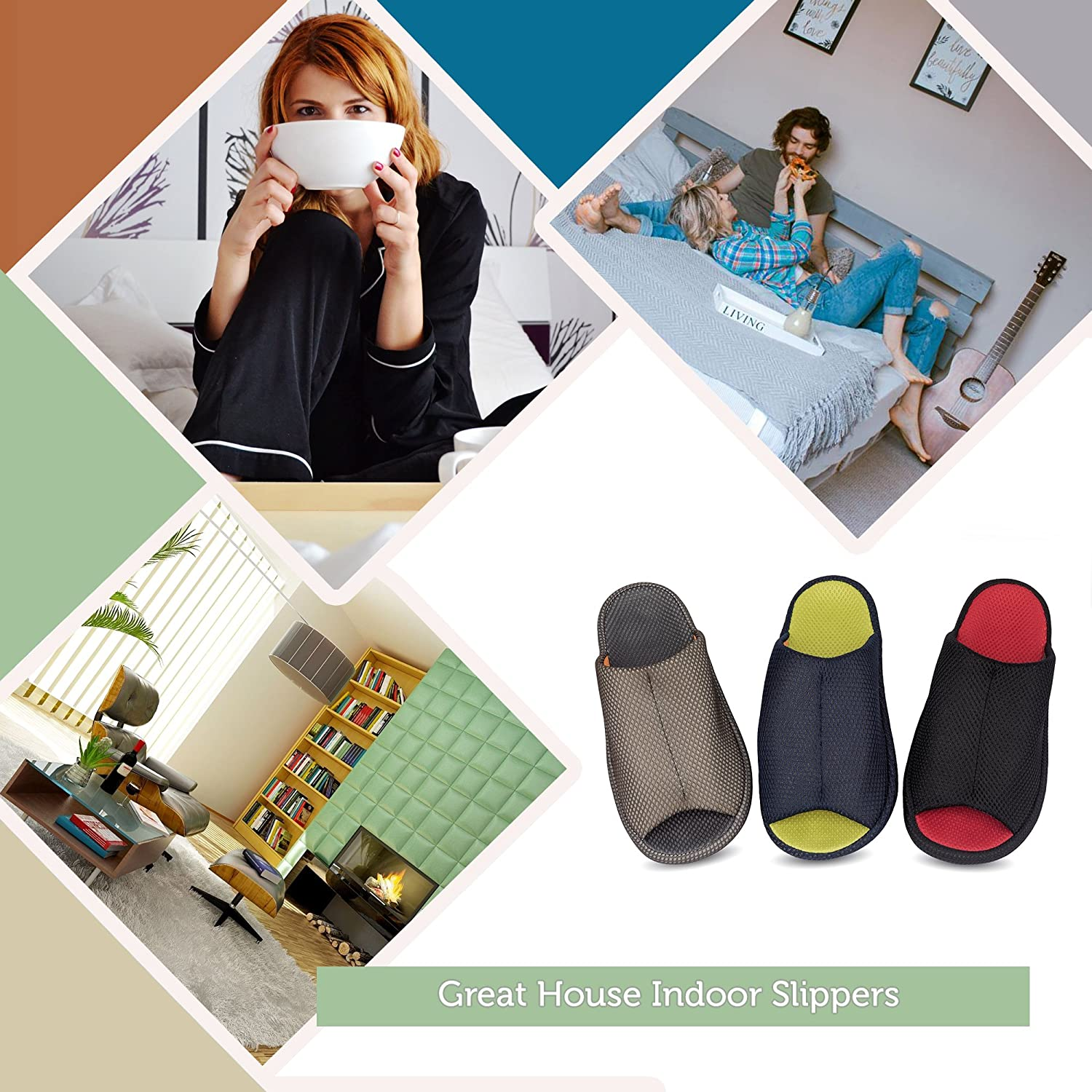 RelaxedFoot Slippers Indoor Outdoor 1 Pair Storage Bag