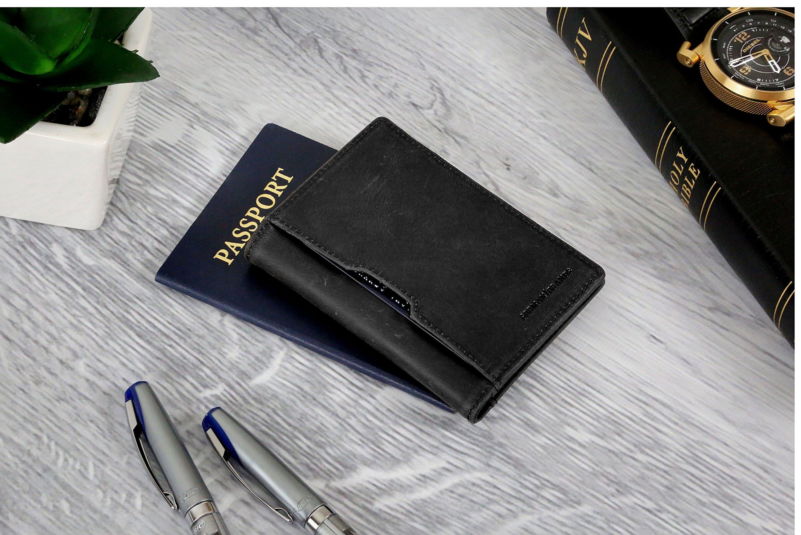 Wallets for Men Slim Mens leather RFID Blocking Minimalist Card Front Pocket Bifold Travel Thin (Charcoal Black 5.0) by SERMAN BRANDS (Image #3)