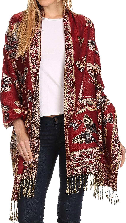 Sakkas Liua Long Wide Woven Patterned Design Multi Colored Pashmina Shawl/Scarf 5055861894935