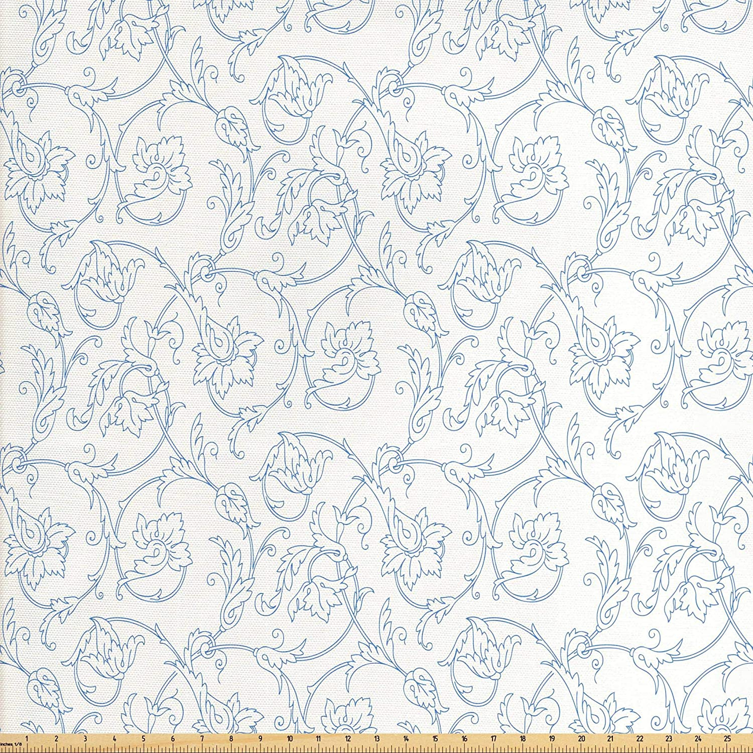 Ambesonne Floral Fabric by The Yard, Flower Orchids Bohemian Style Vintage Petals Vines Pattern French Country Style, Decorative Fabric for Upholstery and Home Accents, 3 Yards, White Blue