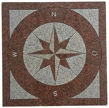 Granit Rosone X Cm Für Draußen Windrose Mosaik Einleger Rot - Mosaik fliesen draußen