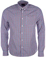 Mens D-Struct Mens Long Sleeve Checked Shirt in Ecru