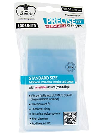 Ultimate Guard - Funda estándar Precise fit Sleeves Reutilizable, 64 x 89 mm (10311)