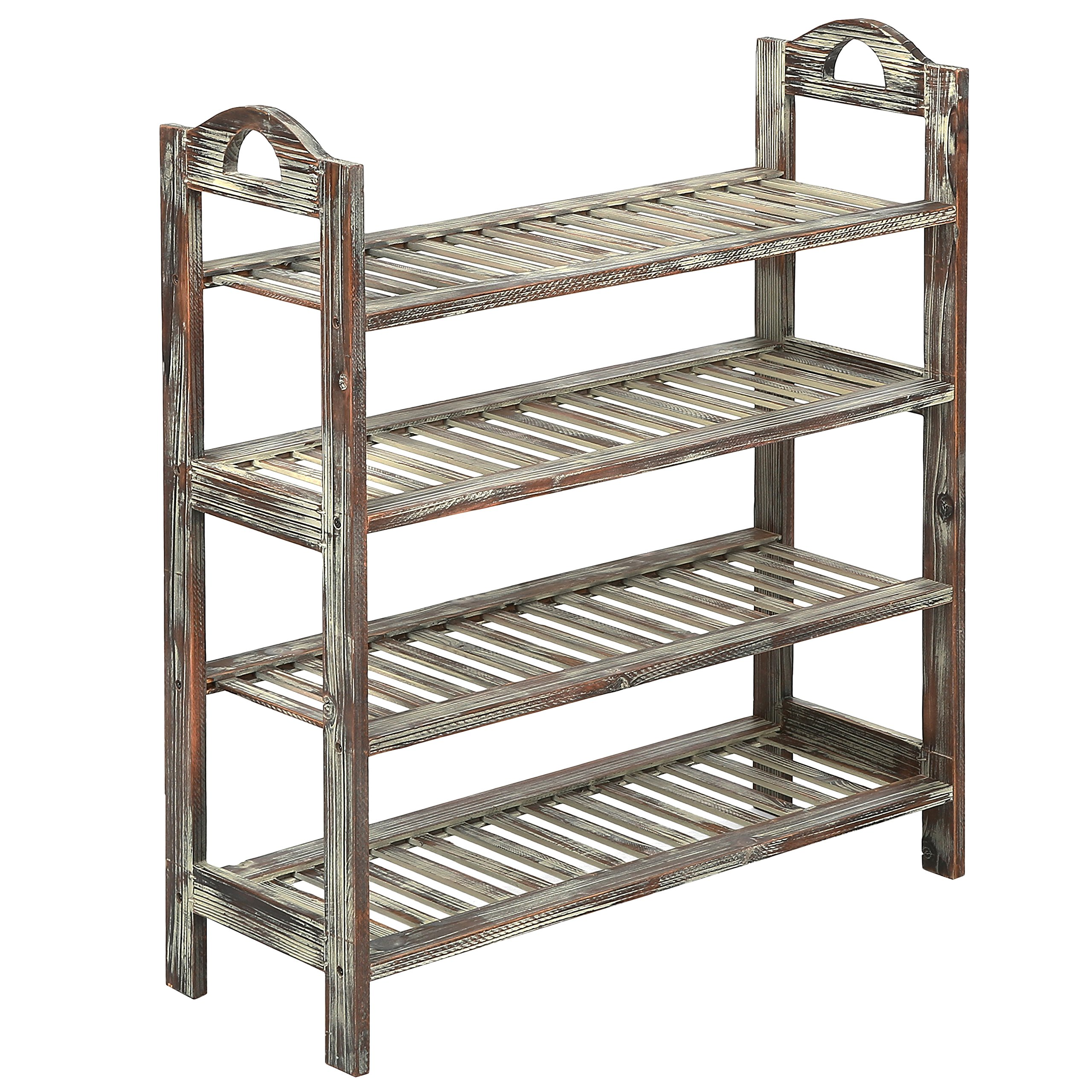 4 Tier Country Rustic Torched Wood Slatted Storage Shoe Rack, Entryway Utility Shelf