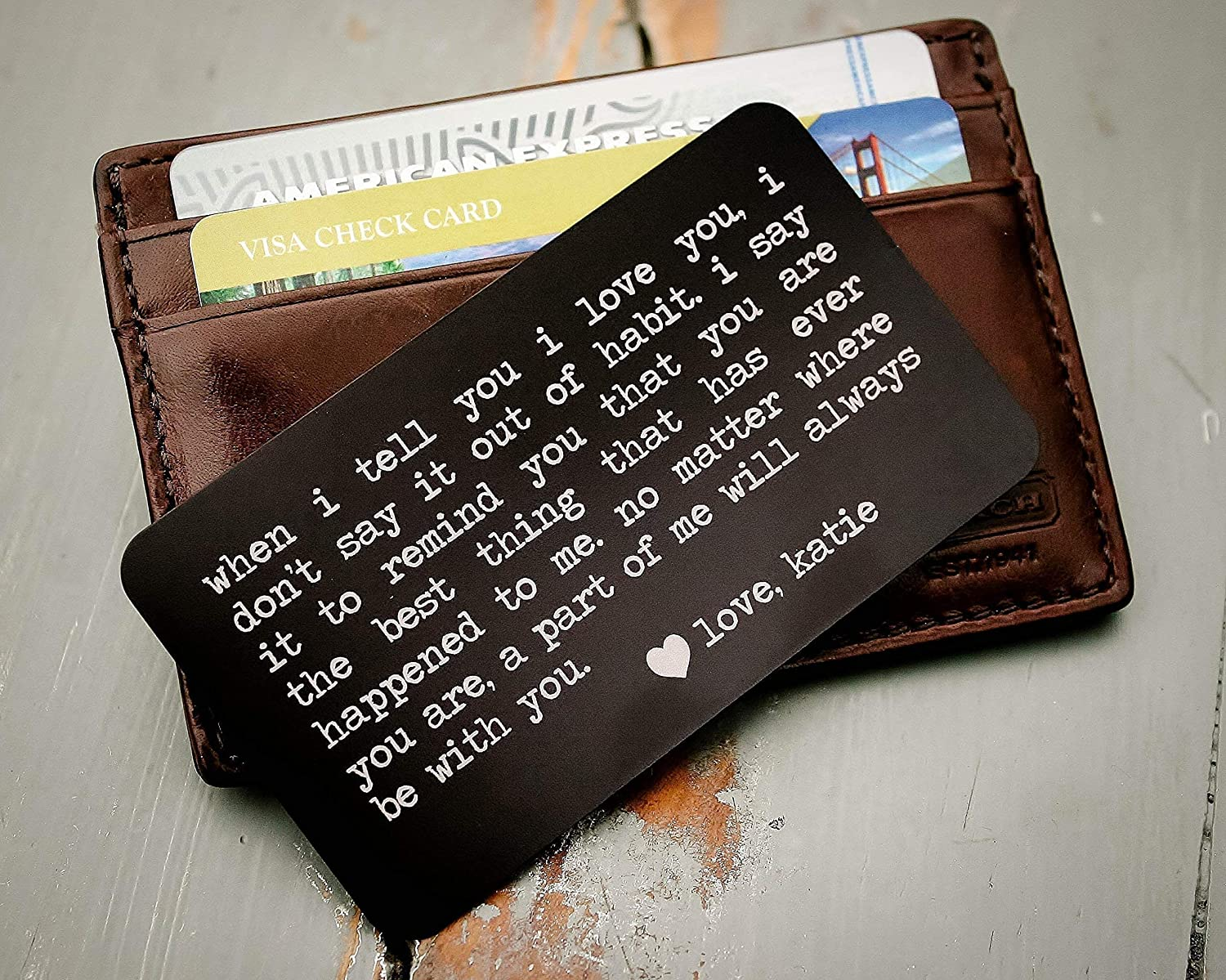 Personalized Stainless Steel Wallet Card Credit Card Size Engraved Expression