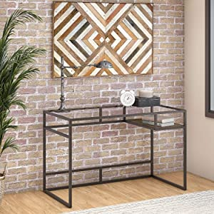 Bush Furniture Anthropology 48W Glass Top Writing Desk with Shelf in Rustic Brown