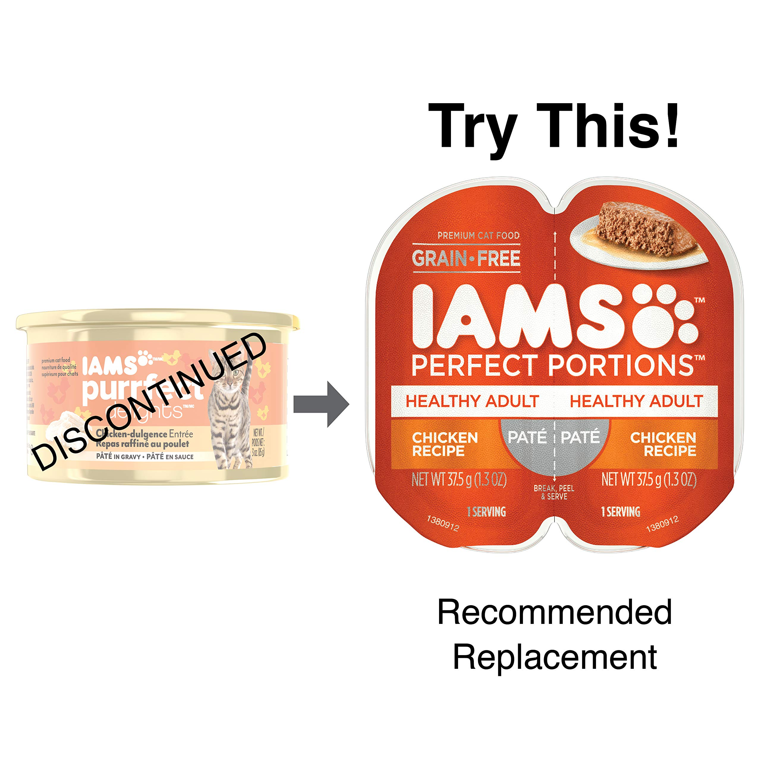 IAMS PURRFECT DELIGHTS Pate in Gravy Chicken-dulgence Entrée Canned Cat Food 3 oz. (Pack of 24) by Iams
