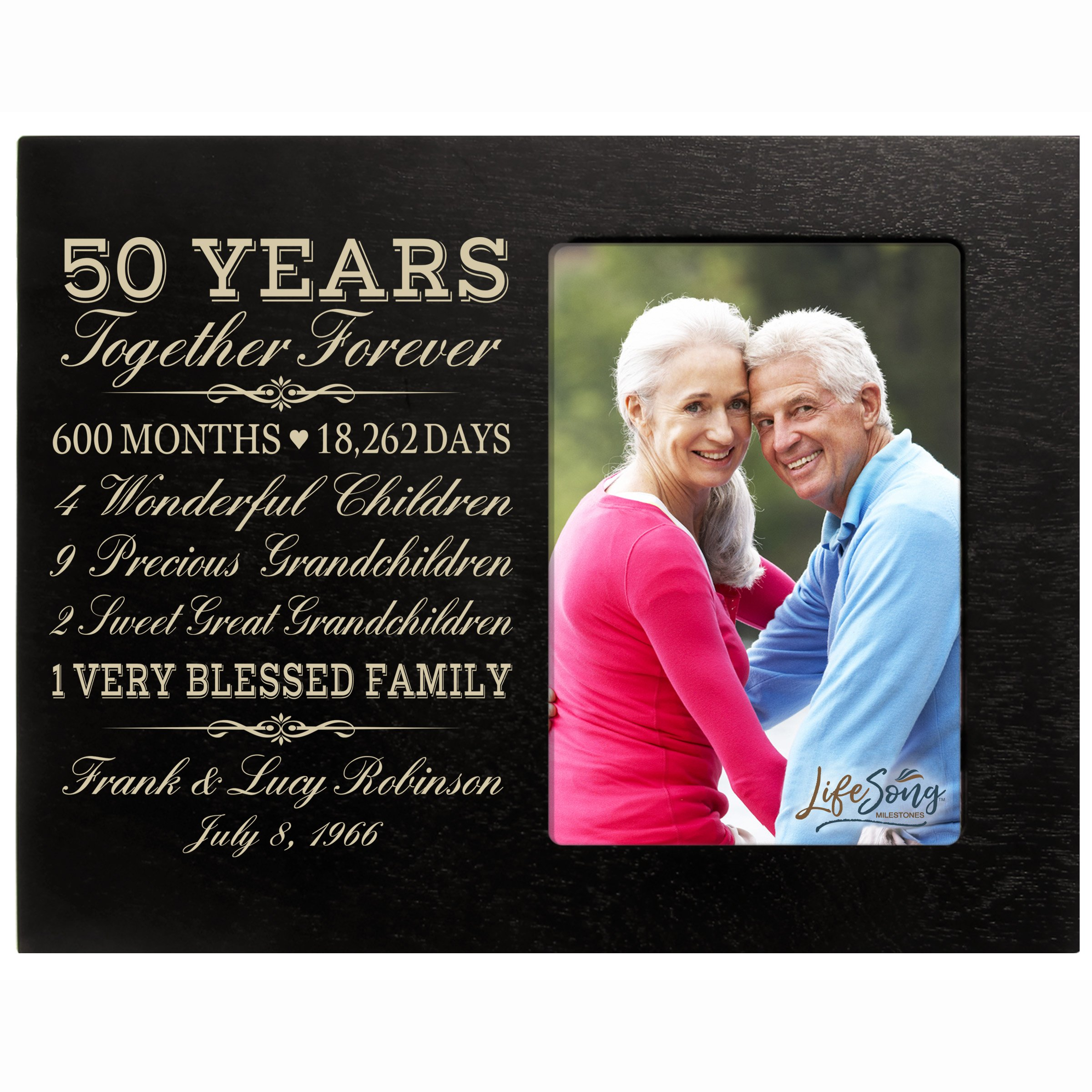 LifeSong Milestones Personalized Fifty Year for her him Couple Custom Engraved Wedding Gift for Husband Wife Girlfriend Boyfriend Photo Frame Holds 4x6 Photo (Black)