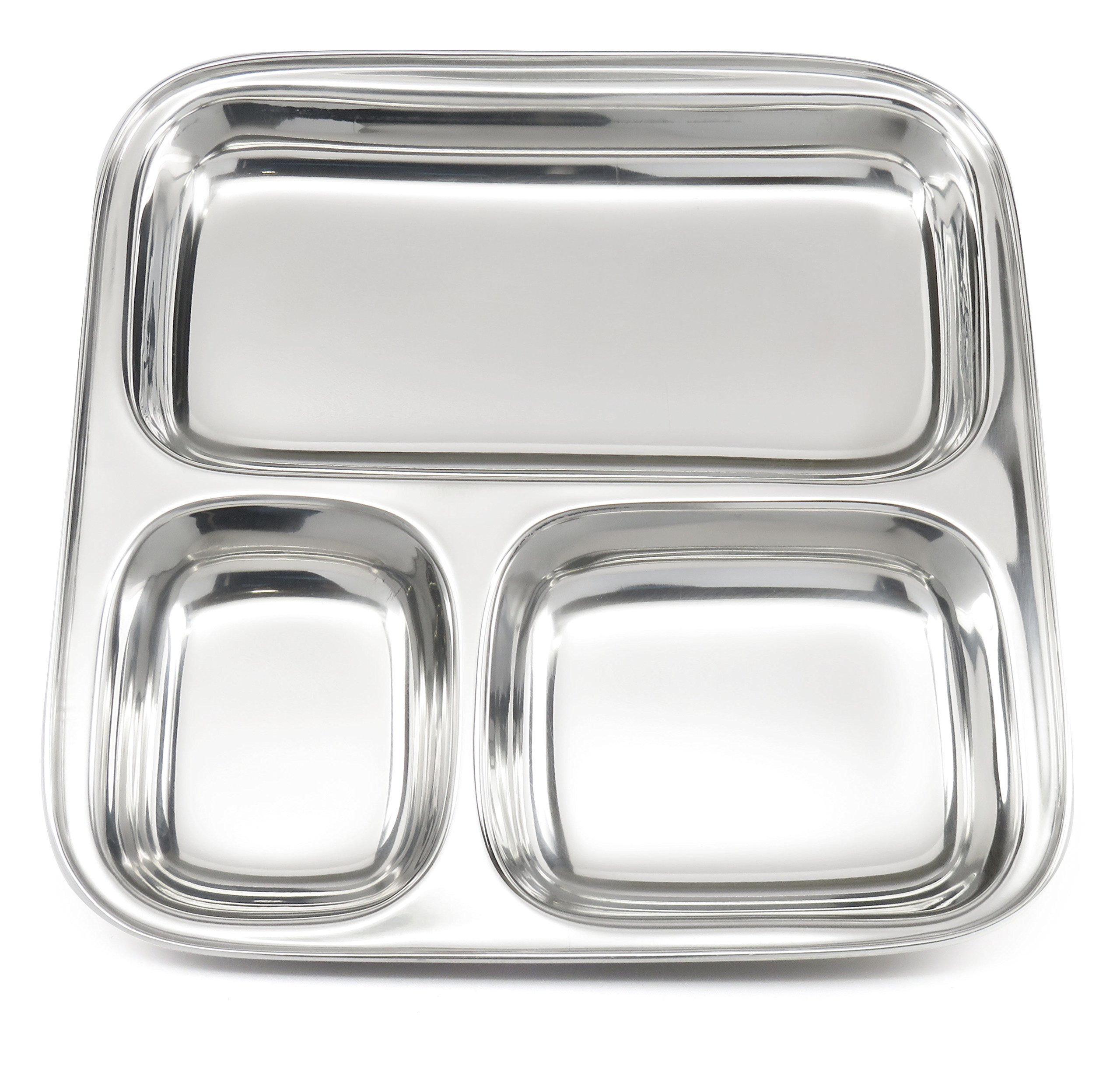 Lifestyle Block Stainless Steel Plastic-Free 3 Compartment Stainless Steel Kid's Plate – Small Divided Kid Plate by Lifestyle Block (Image #2)