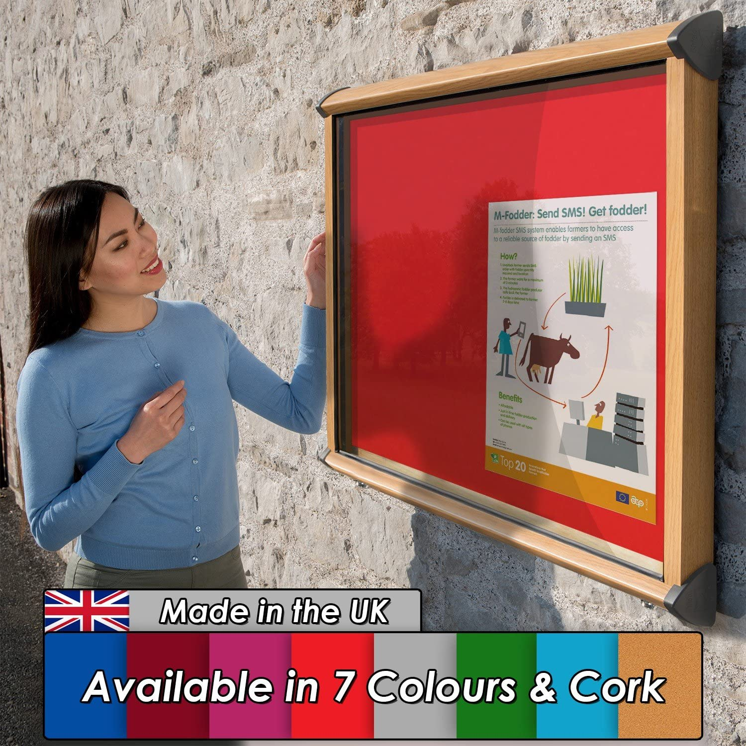 W Notice Board Showcase with Wood Effect Aluminium Frame - H 1182mm Blue 15 x A4 with 2 Matching Locks 1050 x Wonderwall Outdoor Exterior Weatherproof Lockable