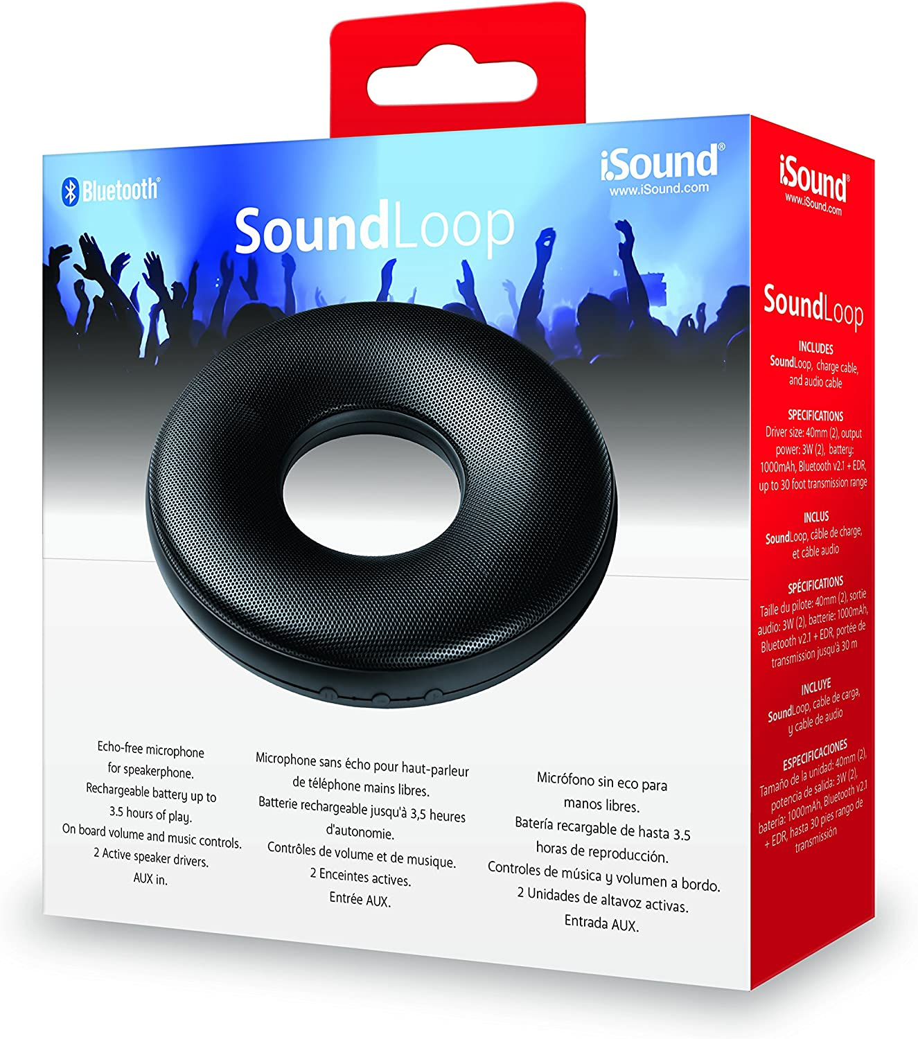 iSound SoundLoop Rechargeable Wireless Bluetooth Speaker /& Speakerphone