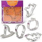 Halloween Cookie Cutters - 5 Piece Boxed Set - Pumpkin, Ghost, Skull, Bat, Witch's Hat - Ann Clark - US Tin Plated Steel