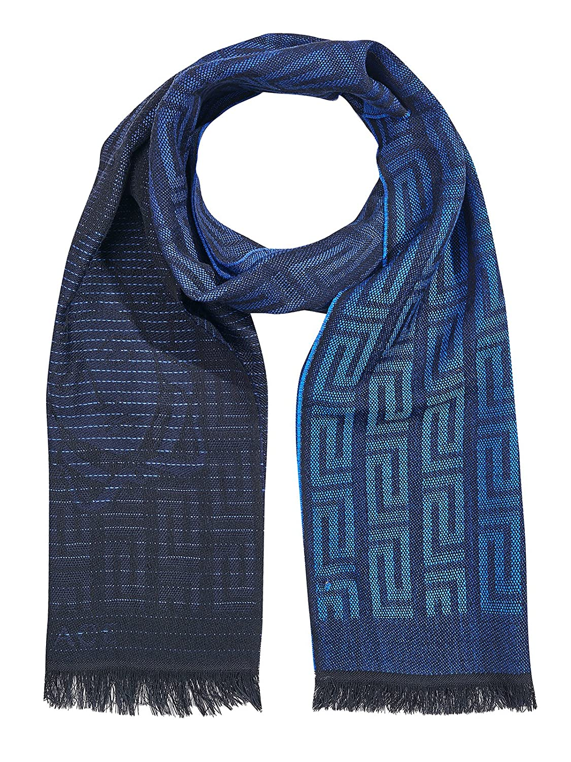 Versace Collection Blue Black Medusa Geometric Scarf