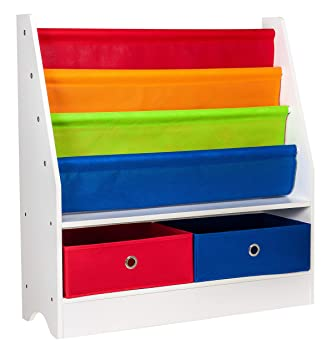 LIVIVO Childs Sling Storage Bookshelf Plus Toy Boxes Primaries