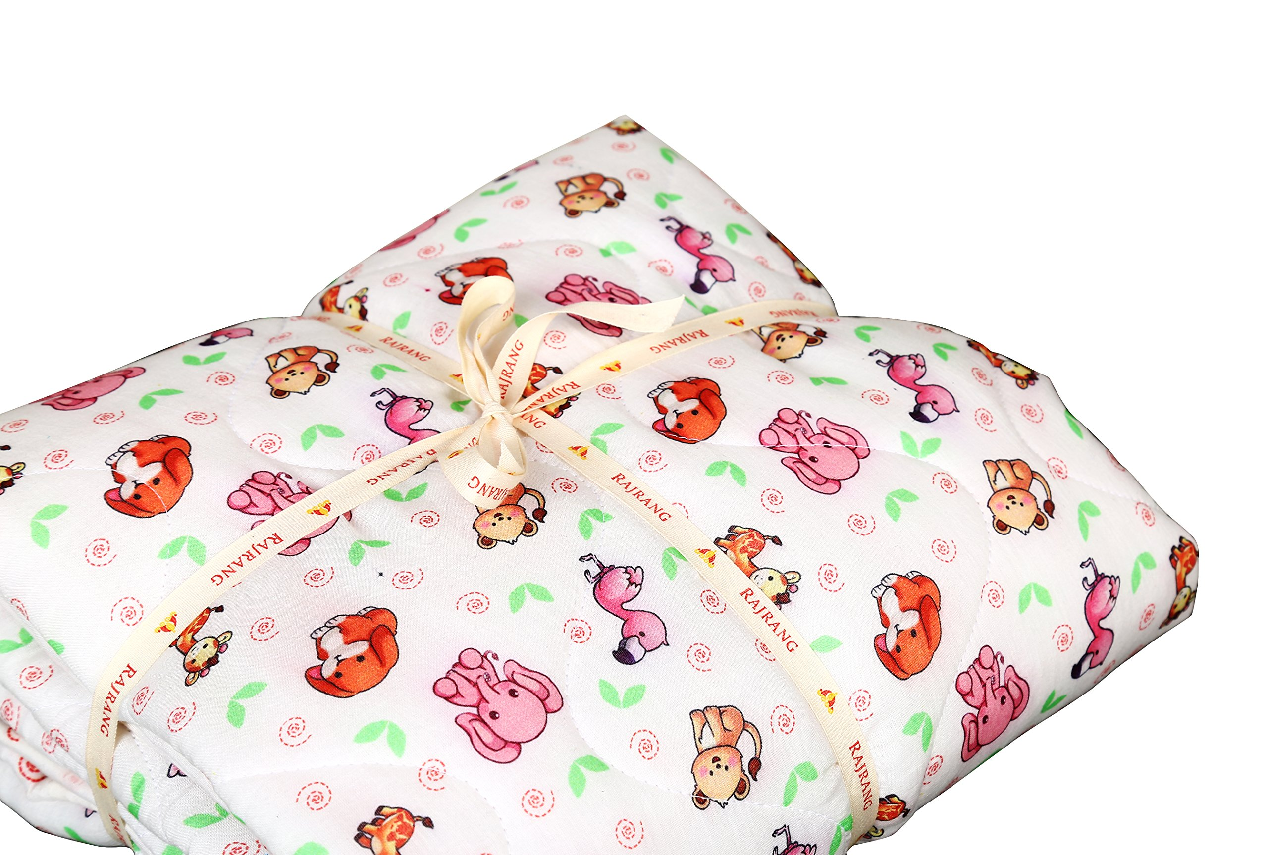 White and Pink Baby Quilt - Warm and Snuggly Toddler Blanket Animal Printed Crib Comforter for New Born Boys & Girls Bed Covers by RAJRANG (Image #7)