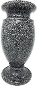 Optimum Memorial Cemetery Flower Vase, Simulated Black Granite, Plastic