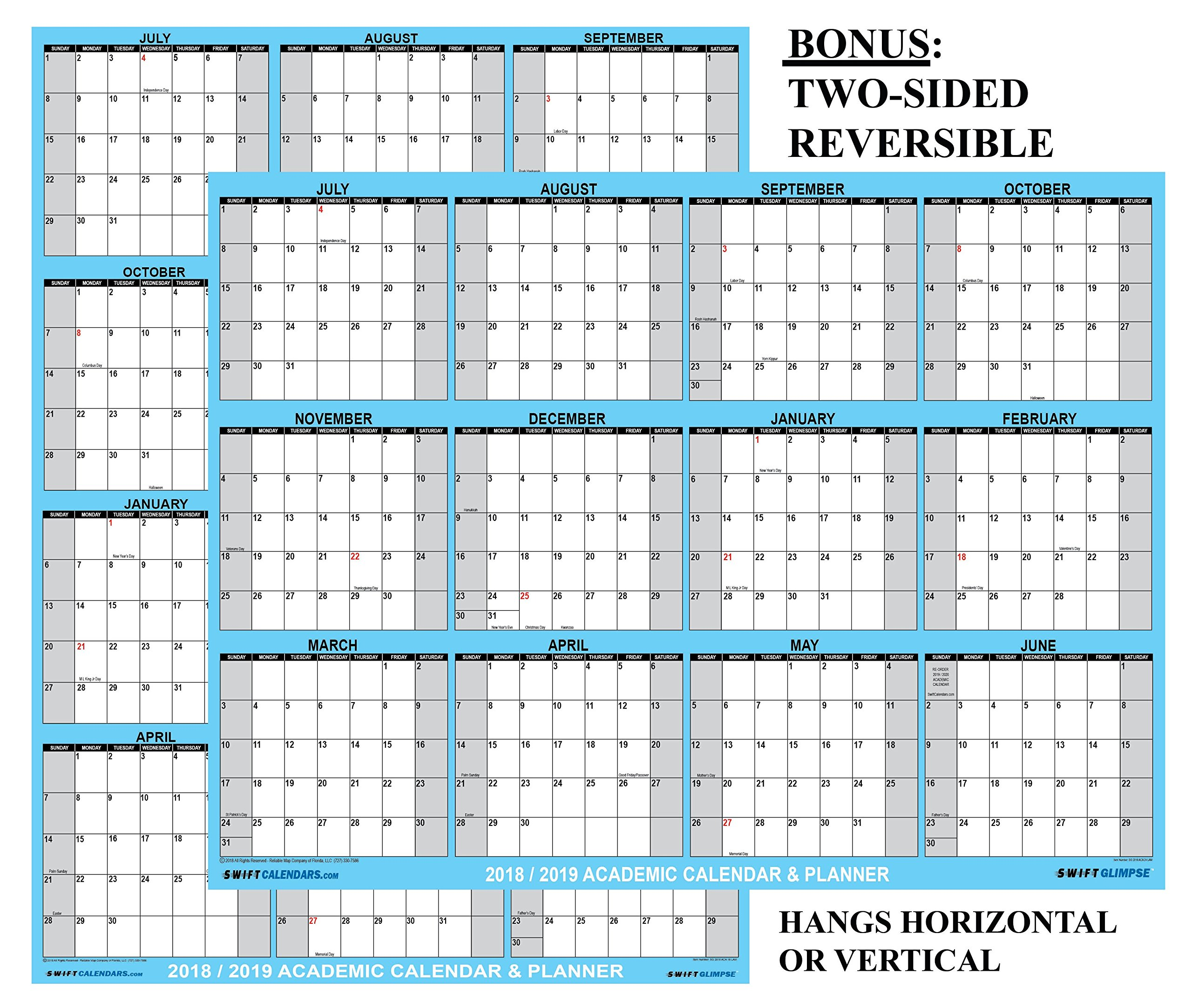 24x36 SwiftGlimpse 2018-2019 Academic Wall Calendar Erasable Large Jumbo Oversized Wet & Dry Erase Laminated 12 Month Planner, 2 Sided Vertical/Horizontal Reversible, June to July - CLASSIC BLUE