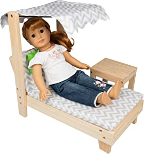 "Lounge Chair w Canopy and Table Set for American Girl and 18"" Doll - Indoor and Outdoor Dollhouse Furniture"