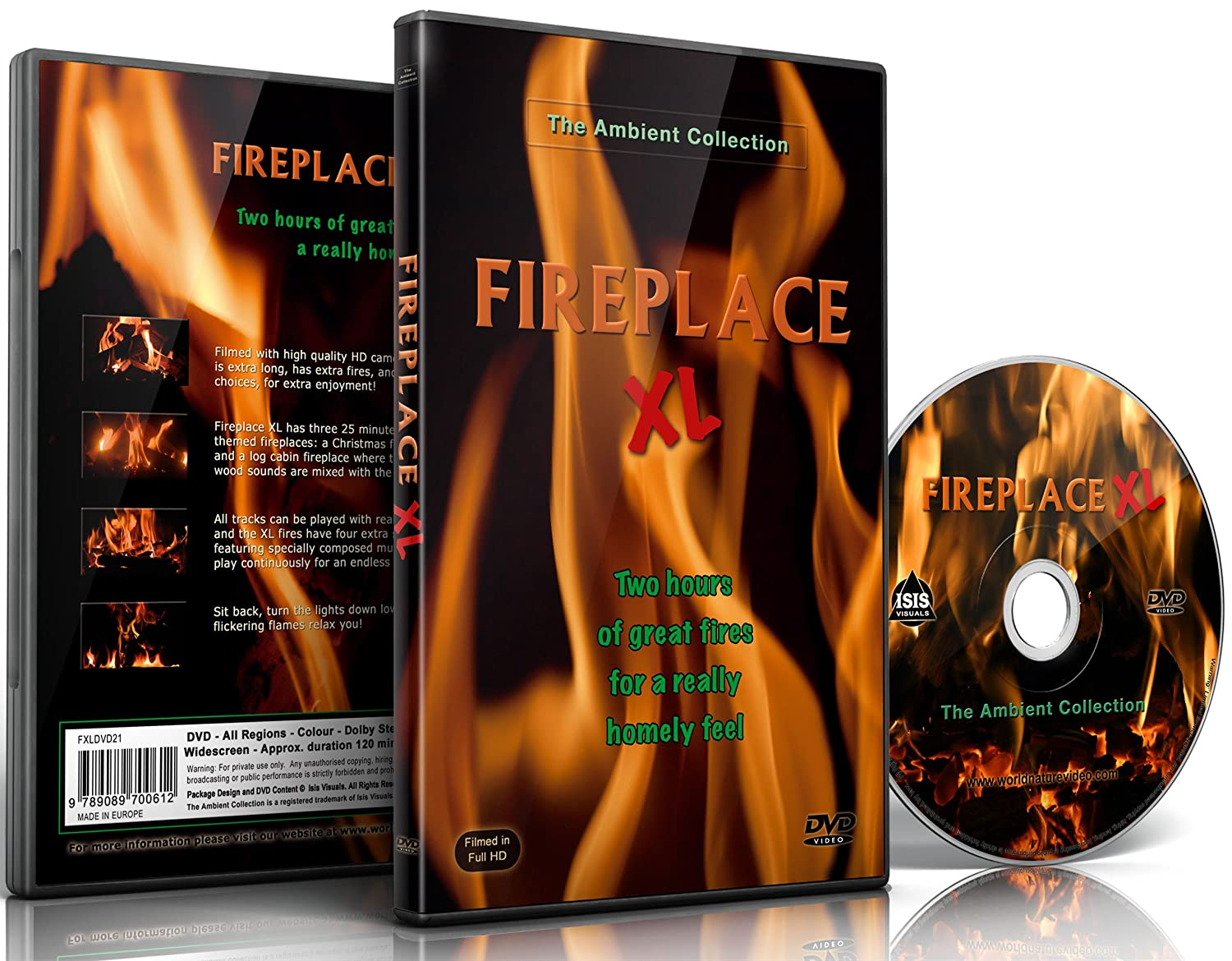 amazon com fire dvd fireplace xl extra long open hearth fires