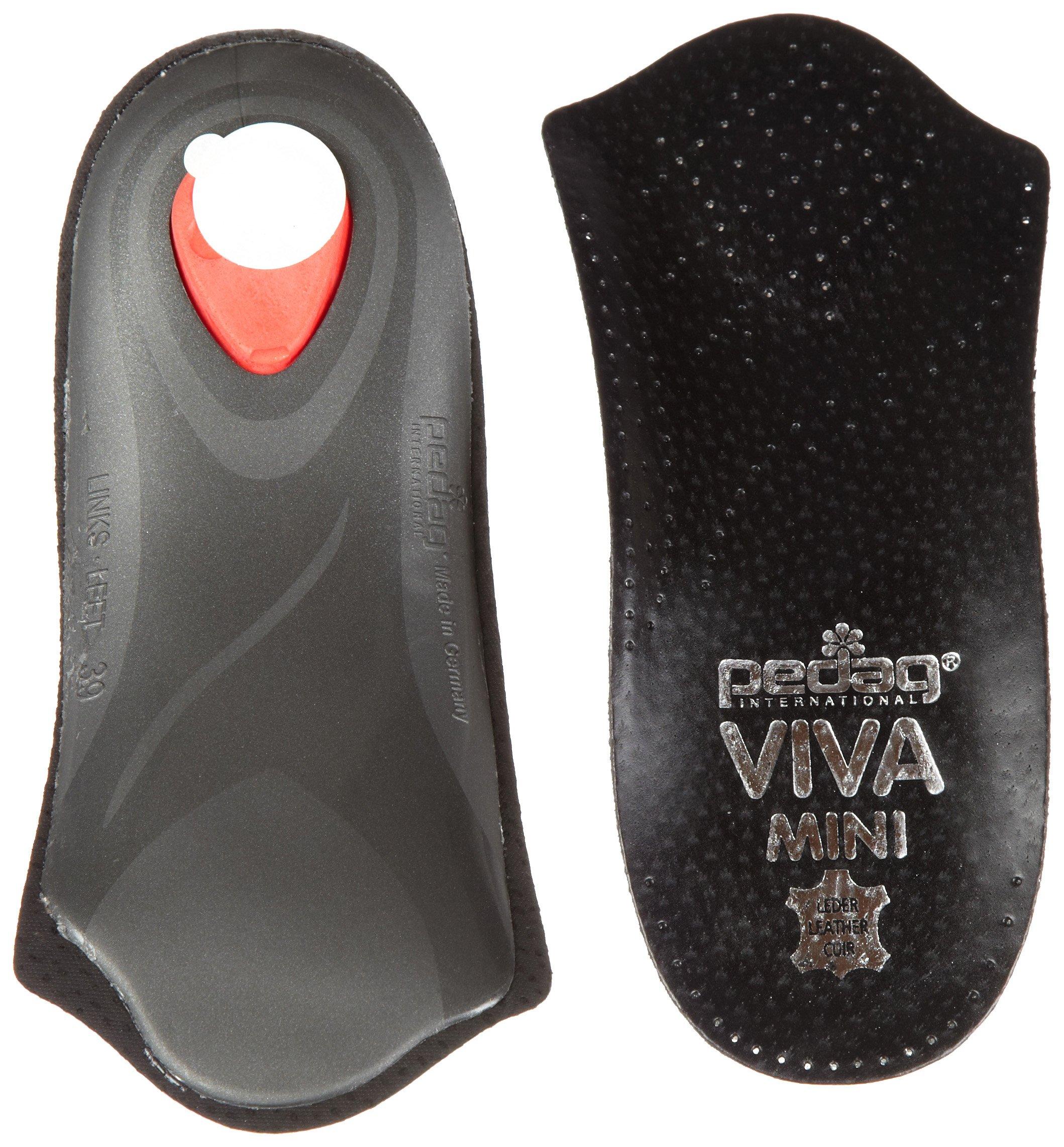 Pedag Viva Mini Orthotic with Semi-Rigid Arch Support, Metatarsal & Heel Pad, Leather, Black, US W9/EU39 by Pedag