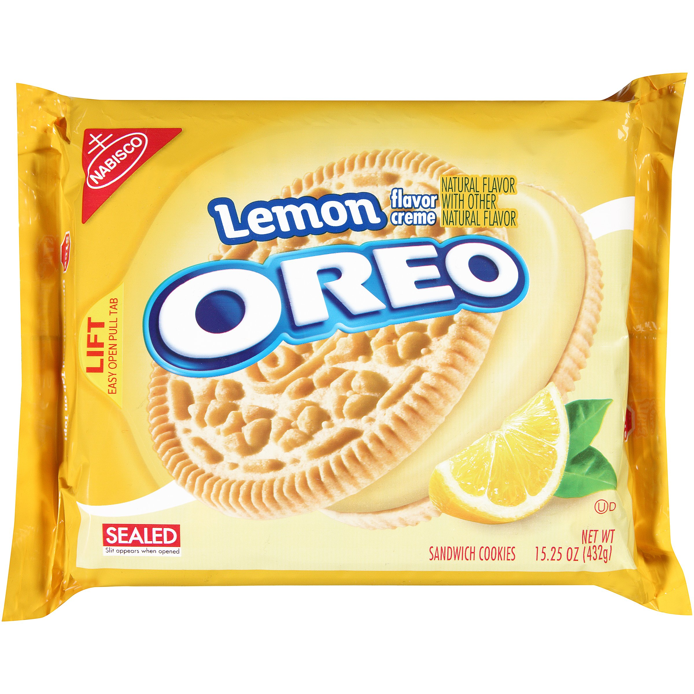 Oreo Lemon Creme Sandwich Cookies, 15.25 Ounce (Pack of 12)