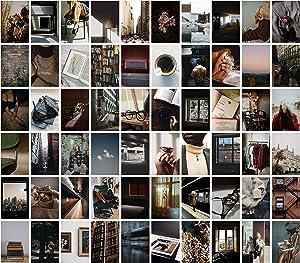 Cerise Design Photo Wall Collage - 60 4x6 inch Photo Collage Kit for Wall Aesthetic, Wall Collage Aesthetic Pictures, Picture Wall Collage Kit, Urban City Dark Academia Aesthetic Room Decor