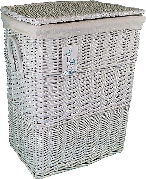 Cesta de mimbre para la ropa sucia, tamaño medio, color blanco. Cesta de lino con forro 100% algodón extraíble.: Amazon.es: Hogar