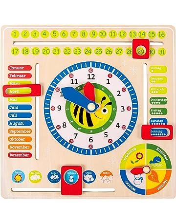 Lernuhr Holz Kinder Spielzeug Uhr Holzuhr Wanduhr Uhrzeit lernen Lernspieluhr