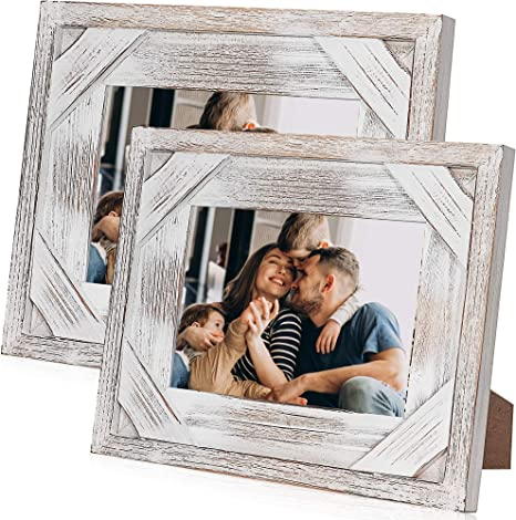 White Holds 4 Pictures Quad Distressed Up-cycled Picture  Photo Frame Natural Wood Rose pink Grey