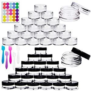 Youngever 140 Pcs Empty Plastic Cosmetic Samples Containers, 80 Pack 5G Plastic Jars With Lids (40 White,40 Black), 60 Pack 3G Cosmetic Jars with Lids (30 White,30 Black), 5 Mini Spatulas and Labels