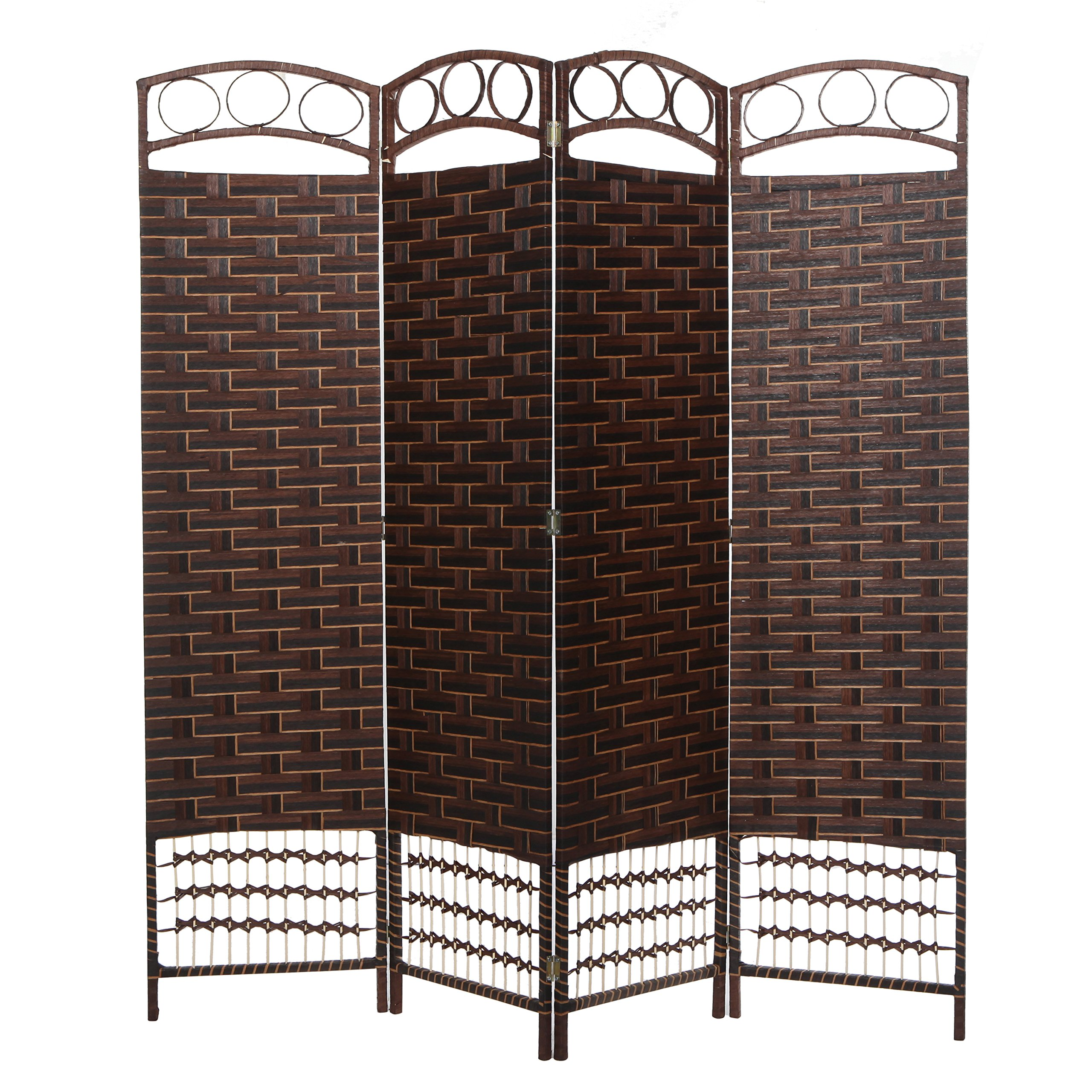 Brown Wood Frame 4 Panel Paper Rope Woven Design Partition Room Divider / Privacy Screen - MyGift