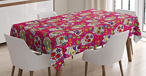 Amazon Com Ambesonne Sugar Skull Tablecloth Colorful Skulls Leaves Motifs Pirate Cemetery Graveyard Traditional Rectangular Table Cover For Dining Room Kitchen Decor 52 X 70 Pink Purple Home Kitchen