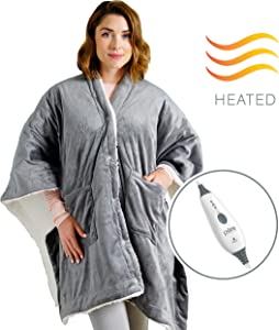 Pure Enrichment PureRelief Plush Heated Shawl with Luxurious Micromink and Super Soft Sherpa, 4 Heat Settings, Auto Shut-Off Timer, Machine Washable - Wearable Design Includes Snap Closure and Pockets