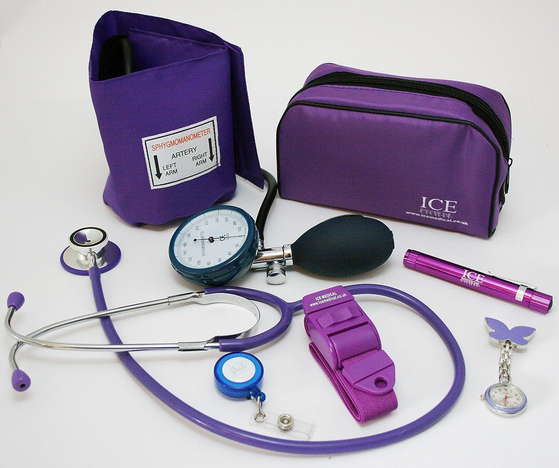 Kit médico con tensiómetro, monitor de presión sanguínea manual, estetoscopio, bolígrafo con luz, torniquete, reloj de enfermera con diseño de mariposa, soporte para tarjeta de identificación con cord