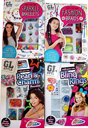 Grafix Set Of 4 Make Your Own Bangles Rings And Hair Braids Craft Kits