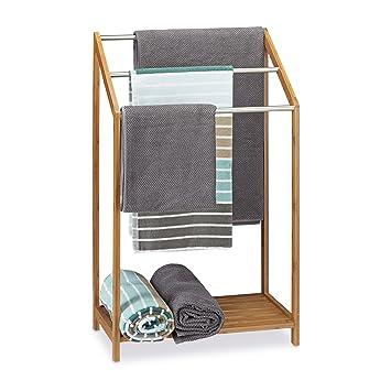Relaxdays Handtuchhalter Bambus, 3 Handtuchstangen, Freistehend, Ablage, Modern, HxBxT: 85 x 51 x 31 cm, Natur Toallero de Pie, Bambú, Marrón, ...