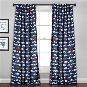 "Lush Decor Lush Décor Race Cars Room Darkening Window Curtain Panel Set, 84"" x 52"", Navy/Red"