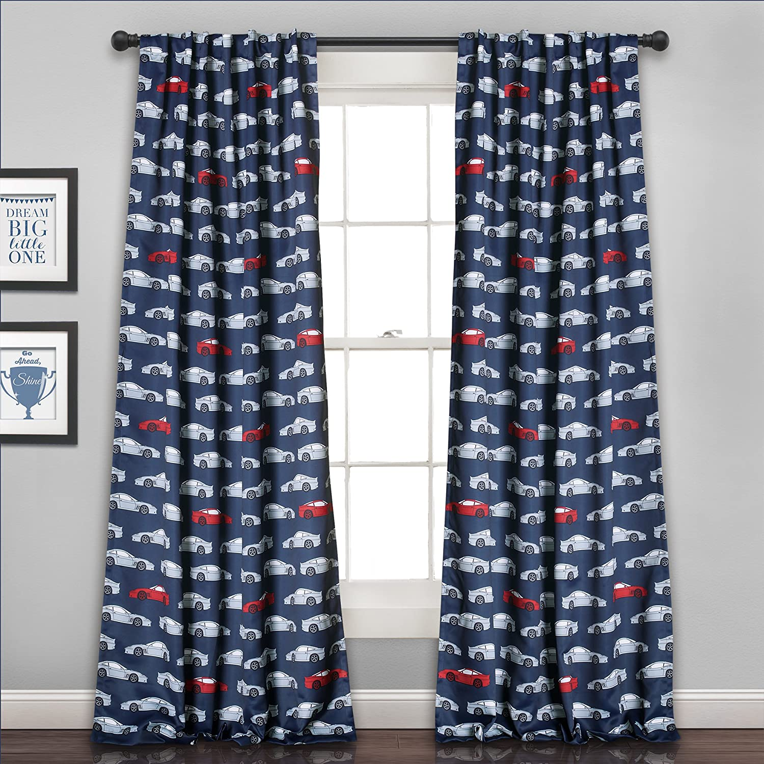 Lush Decor 16T000556 Race Cars Room Darkening Window Curtain Panel Set, 84 x 52, Navy/Red 84 x 52 Triangle Home Fashions