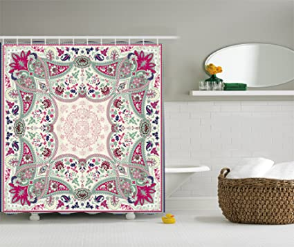 Ambesonne Paisley Decor Shower Curtain, Damask Mandala Design Floral  Ornamental Geometric And Square Print,