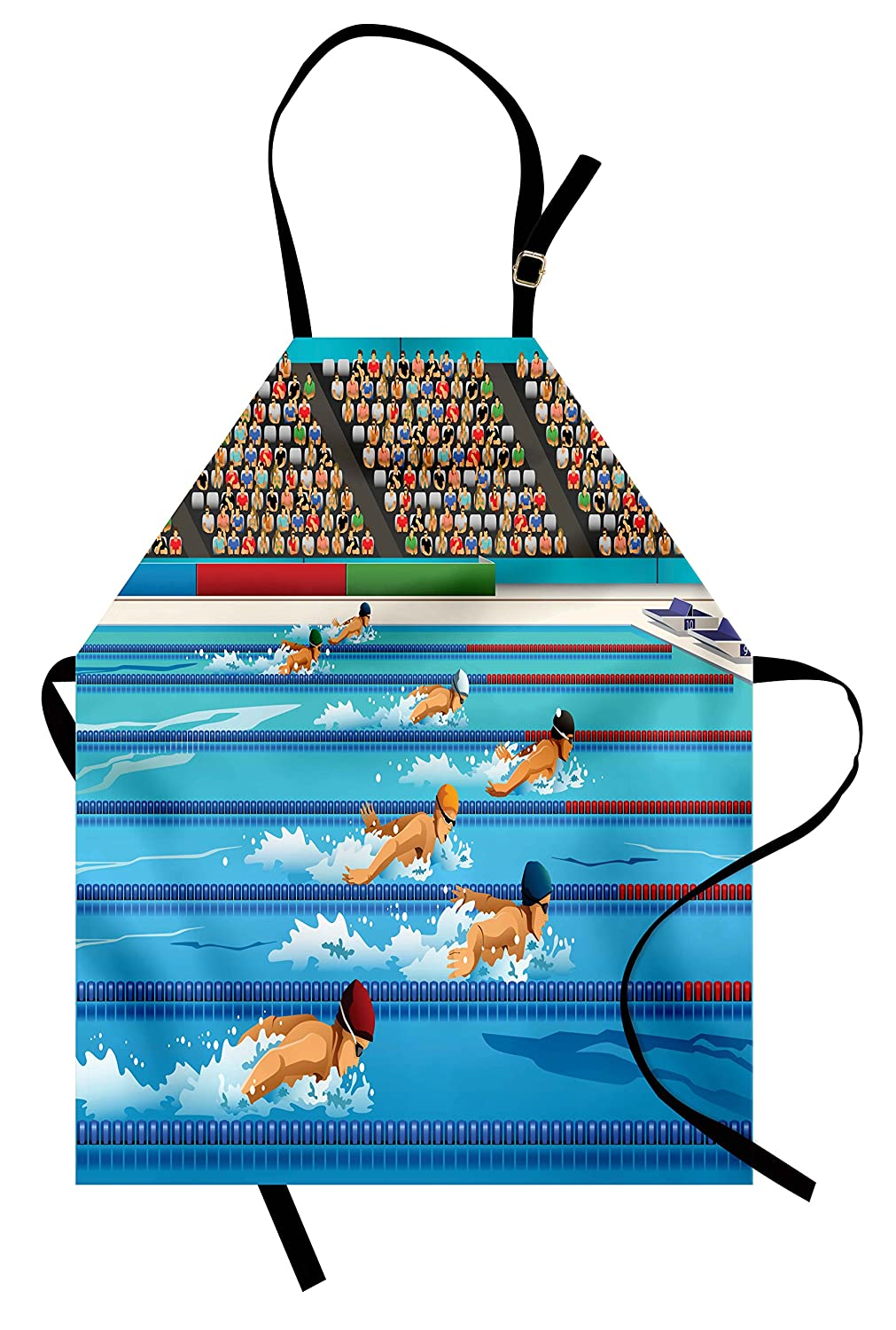 Olympics Apron with Illustration of Swimmers During Swimming Competition