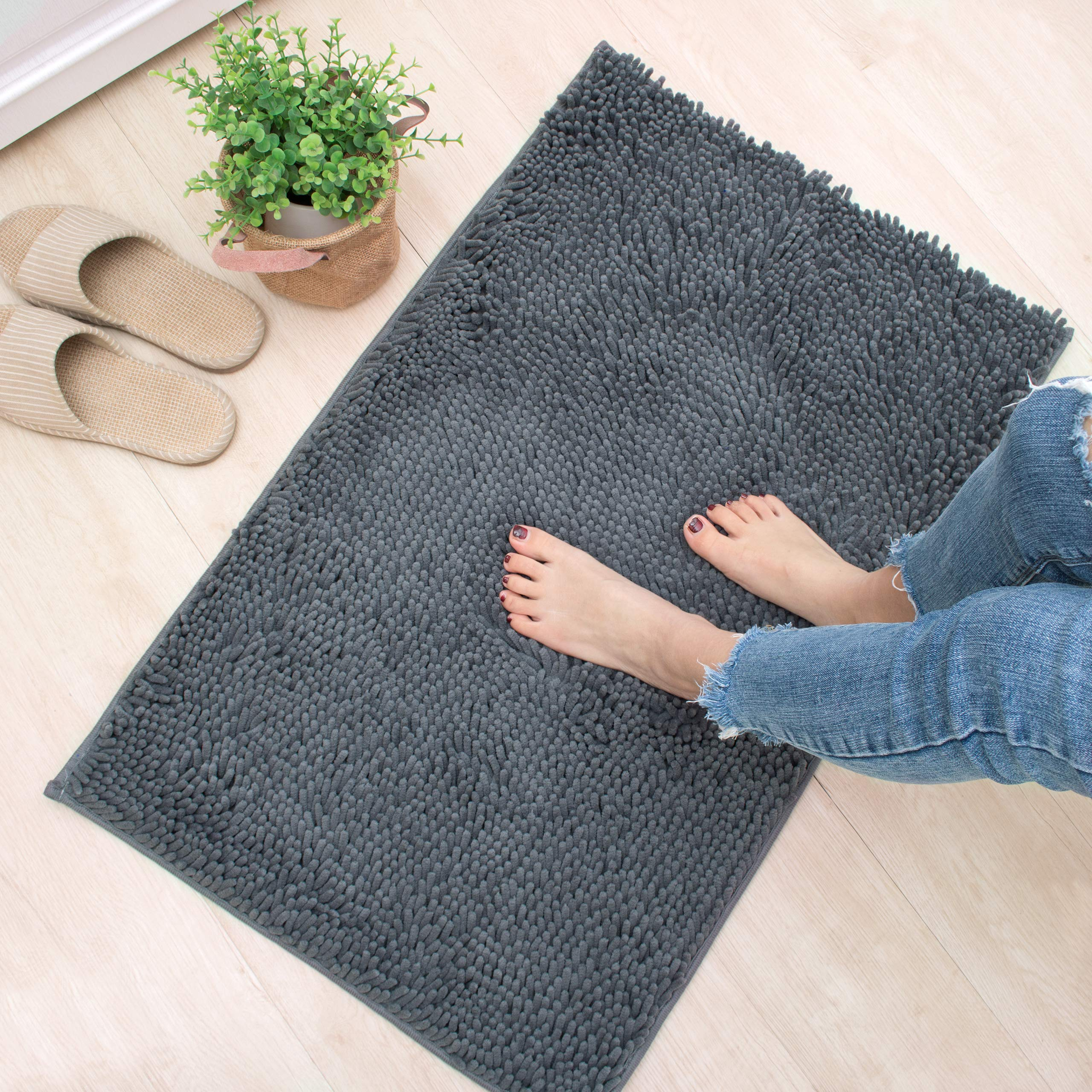 X·SOAR-Bath mats, Soft and Comfortable Bathroom Rugs,Absorbent,Shaggy and Fast Dry Bath Rugs, Non-Slip Kitchen mat.(20''×32'' inch, Iron) by X·SOAR (Image #4)